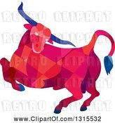 Vector Clip Art of Retro Low Poly Angry Red Geometric Texas Longhorn Steer Bull by Patrimonio