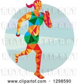 Vector Clip Art of Retro Low Poly Female Marathon Runner over a Circle by Patrimonio