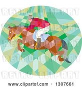 Vector Clip Art of Retro Low Poly Geometric Equestrian Show Jumping a Horse in an Oval by Patrimonio