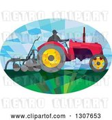 Vector Clip Art of Retro Low Poly Geometric Farmer Operating a Plow Tractor in an Oval by Patrimonio