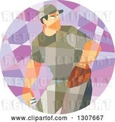 Vector Clip Art of Retro Low Poly Geometric Male Baseball Player Pitching in a Circle by Patrimonio