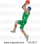 Vector Clip Art of Retro Low Poly Geometric Male Basketball Player Doing a Jump Shot by Patrimonio