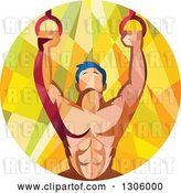 Vector Clip Art of Retro Low Poly Geometric Male Crossfit or Gymnast Athlete Doing Kipping Pull Ups on Still Rings by Patrimonio