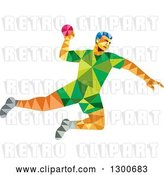 Vector Clip Art of Retro Low Poly Geometric Male Handball Player Jumping by Patrimonio