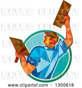 Vector Clip Art of Retro Low Poly Geometric Male Plasterer Working with Trowels and Emerging from a Circle by Patrimonio