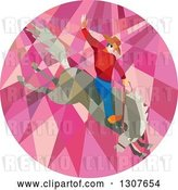 Vector Clip Art of Retro Low Poly Geometric Male Rodeo Cowboy on a Bucking Horse in a Pink Circle by Patrimonio