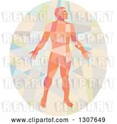 Vector Clip Art of Retro Low Poly Geometric Nude Guy in an Oval by Patrimonio