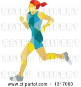 Vector Clip Art of Retro Low Poly Geometric Red Haired White Female Marathon Runner by Patrimonio