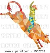 Vector Clip Art of Retro Low Poly Geometric Rodeo Cowboy Riding a Bull by Patrimonio