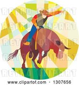 Vector Clip Art of Retro Low Poly Geometric Rodeo Cowboy Riding a Bull in a Circle by Patrimonio