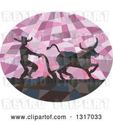 Vector Clip Art of Retro Low Poly Geometric Silhouetted Southeast Asian Farmer and Water Buffalo Plowing a Field in a Purple Oval by Patrimonio