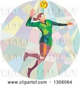 Vector Clip Art of Retro Low Poly Geometric White Female Volleyball Player Spiking in a Circle by Patrimonio