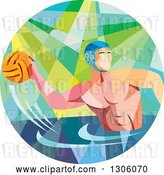 Vector Clip Art of Retro Low Poly Geometric White Guy Playing Water Polo in a Circle by Patrimonio