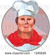 Vector Clip Art of Retro Low Poly Male Chef in a Circle by Patrimonio