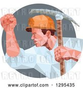 Vector Clip Art of Retro Low Poly Male Coal Miner with a Pickaxe and Fist in a Gray Circle by Patrimonio