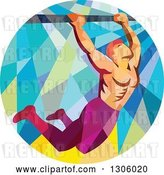 Vector Clip Art of Retro Low Poly Male Crossfit Athlete Doing Pull Ups on a Bar in a Circle by Patrimonio
