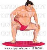 Vector Clip Art of Retro Low Poly Squatting Sumo Wrestler by Patrimonio
