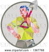 Vector Clip Art of Retro Low Poly Styled Male Gardener Holding a Shovel in a Circle by Patrimonio