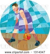 Vector Clip Art of Retro Low Poly White Male Basketball Player Dribbling in a Circle by Patrimonio
