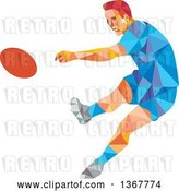 Vector Clip Art of Retro Low Poly White Male Rugby Player Kicking by Patrimonio