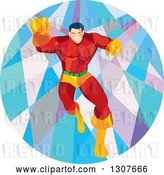 Vector Clip Art of Retro Low Poly White Male Super Hero Running Forward and Punching in a Circle by Patrimonio