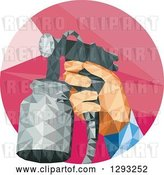 Vector Clip Art of Retro Low Polygon Geometric Hand Holding a Spray Paint Gun in a Red Circle by Patrimonio