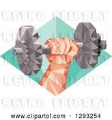 Vector Clip Art of Retro Low Polygon Geometric Hand Holding up a Dumbbell in a Diamond by Patrimonio