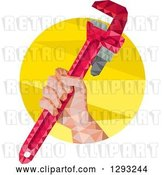 Vector Clip Art of Retro Low Polygon Geometric Plumbers Hand Holding a Monkey Wrench in a Yellow Circle by Patrimonio