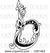 Vector Clip Art of Retro Lowercase Floral Letter B by Vector Tradition SM