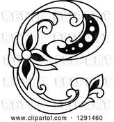 Vector Clip Art of Retro Lowercase Floral Letter E by Vector Tradition SM