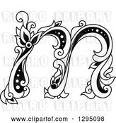Vector Clip Art of Retro Lowercase Floral Letter M by Vector Tradition SM