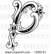 Vector Clip Art of Retro Lowercase Floral Letter P by Vector Tradition SM