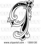 Vector Clip Art of Retro Lowercase Floral Letter Q by Vector Tradition SM