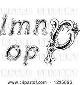 Vector Clip Art of Retro Lowercase Floral Letters L, M, N, O and P by Vector Tradition SM