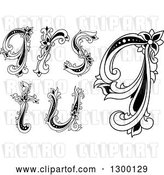 Vector Clip Art of Retro Lowercase Floral Letters Q, R, S, T and U by Vector Tradition SM