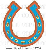 Vector Clip Art of Retro Lucky Blue, Red and Orange Horseshoe by Andy Nortnik