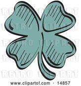 Vector Clip Art of Retro Lucky Green Clover with Four Leaves by Andy Nortnik