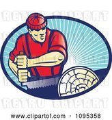 Vector Clip Art of Retro Lumberjack Guy Sawing a Log over Blue Rays by Patrimonio
