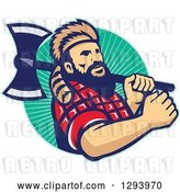 Vector Clip Art of Retro Lumberjack in Plaid and a Raccoon Hat, Holding an Axe over His Shoulder in a Circle of Rays by Patrimonio