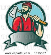 Vector Clip Art of Retro Lumberjack Logger Carrying an Axe over His Shoulder over a Banner and Blue Circle by Patrimonio