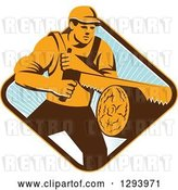 Vector Clip Art of Retro Lumberjack Logger Guy Using a Crosscut Saw in a Yellow Brown White and Blue Sunny Diamond by Patrimonio