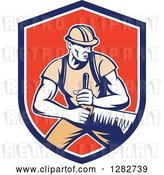 Vector Clip Art of Retro Lumberjack Logger Worker Guy Using a Crosscut Saw in a Blue White and Red Shield by Patrimonio