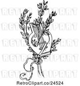 Vector Clip Art of Retro Lyre and Branches by Prawny Vintage