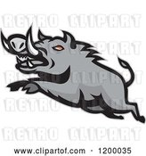 Vector Clip Art of Retro Mad Angry Razorback Boar Leaping by Patrimonio
