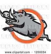 Vector Clip Art of Retro Mad Angry Razorback Boar Leaping Through a Ring by Patrimonio