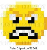 Vector Clip Art of Retro Mad Cartoon 8 Bit Video Game Style Emoji Smiley Face by AtStockIllustration