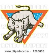 Vector Clip Art of Retro Mad Elephant Bucking Through a Triangle of Rays by Patrimonio