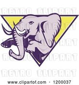Vector Clip Art of Retro Mad Elephant Rearing Through a Triangle by Patrimonio