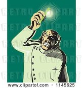 Vector Clip Art of Retro Mad Scientist Holding up a Shining Test Tube by Patrimonio