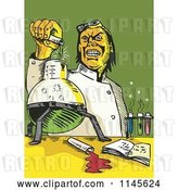 Vector Clip Art of Retro Mad Scientist Pouring Chemicals by Patrimonio